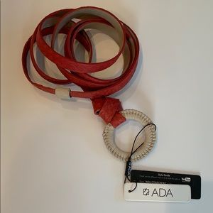 NWT-Ada brand wrap belt in red leather w tan loop